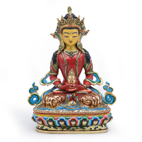 Amitayus Painted Statue - 9.5 inch