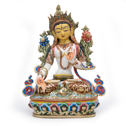 White Tara Painted Statue - 9.5 inch