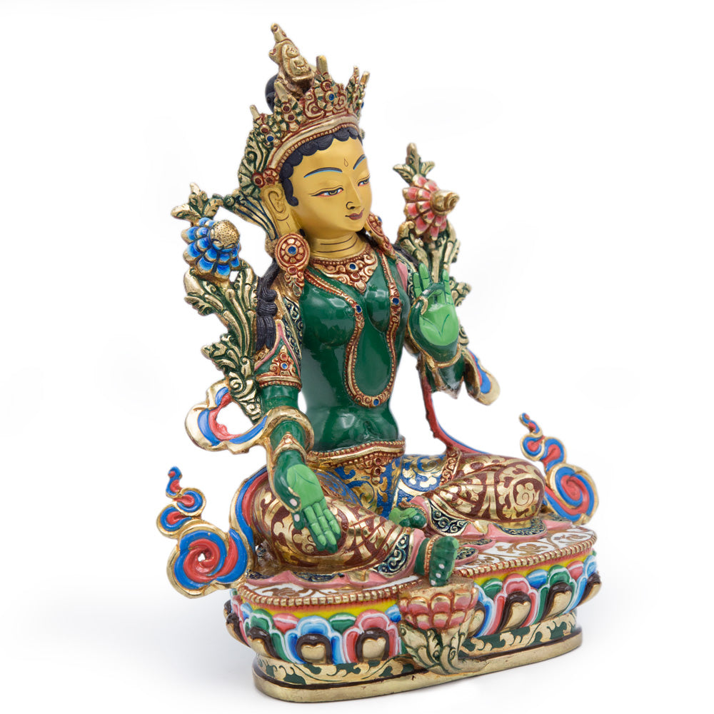 Green Tara Painted Statue - 9.5 inch