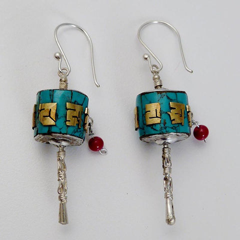 Turquoise Mantra Prayer Wheel Earrings