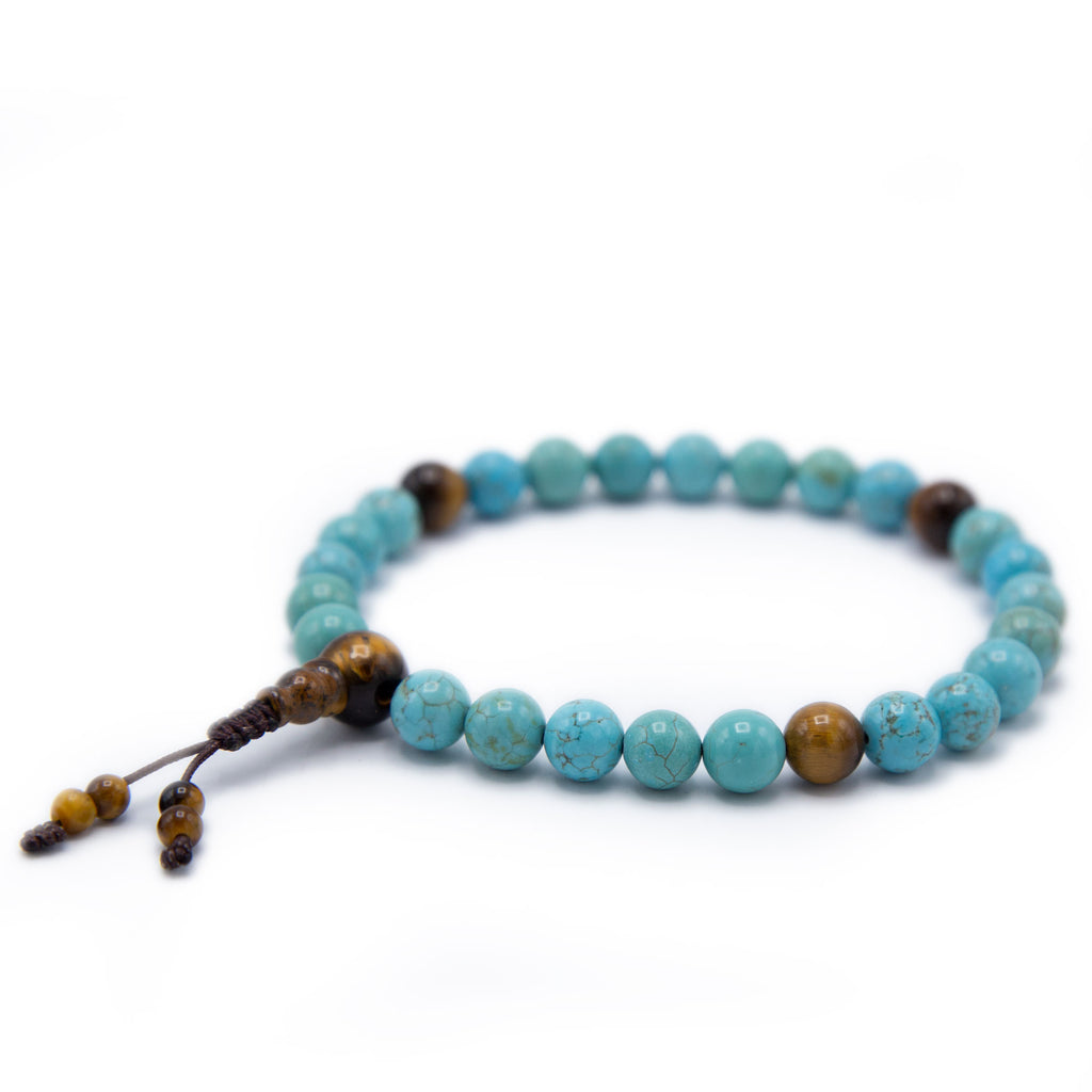 Turquoise and Tiger's Eye Pocket Mala - 8mm