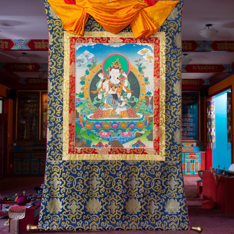 Vajrasattva and Consort Thangka - Medium