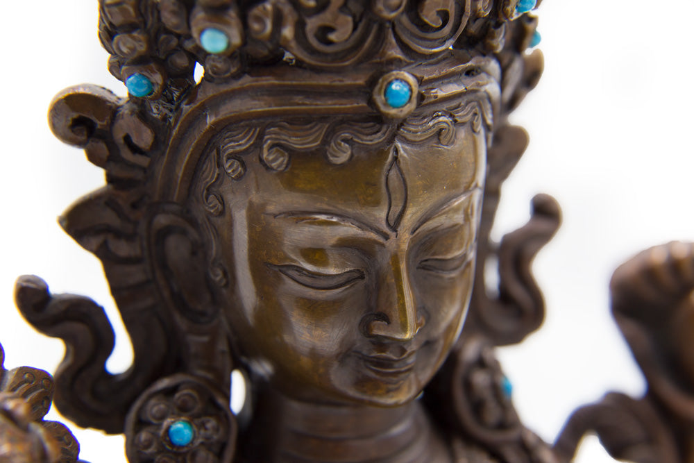 White Tara Copper Statue - 8.5 inch