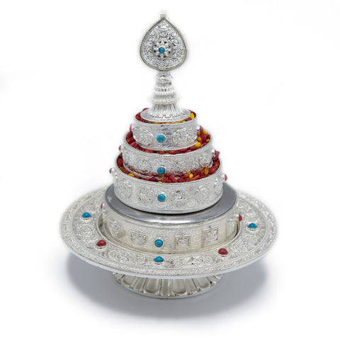White Metal Mandala Set with Stand