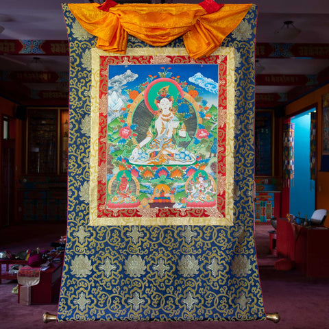 White Tara Thangka - Medium