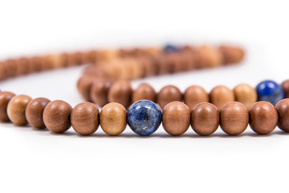 Wood Mala and Lapis Spacers - 9mm