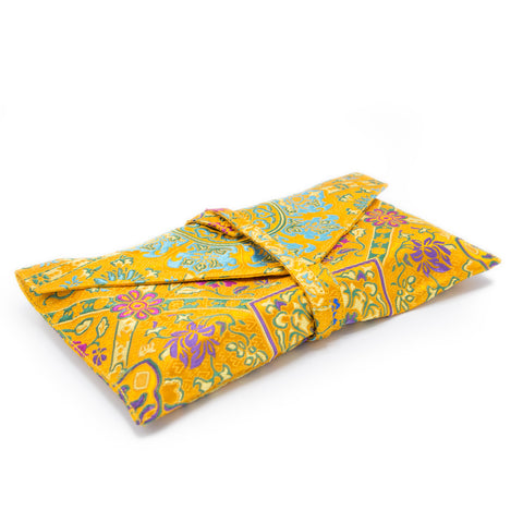 Indian Silk Brocade Text Envelope - Yellow