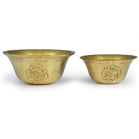 Engraved Brass Offering Bowls