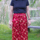 Red Brocade with Medallions Meditation Skirt