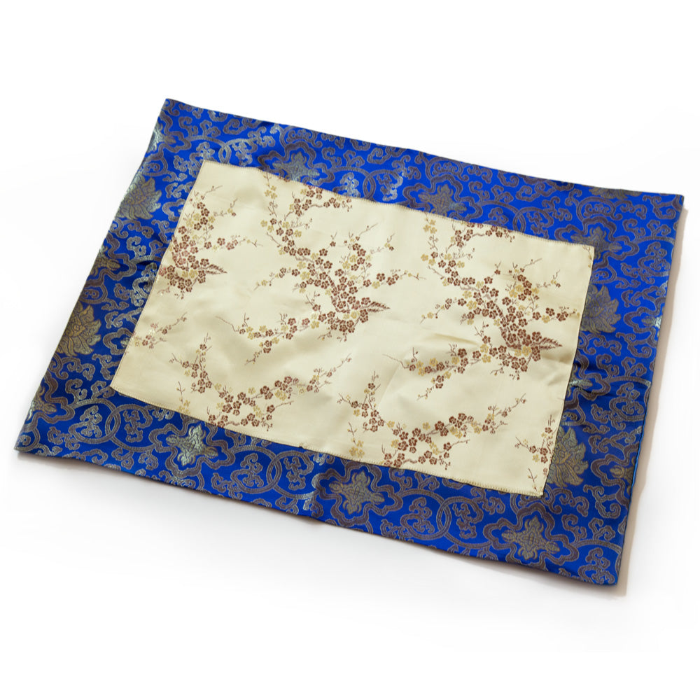 Gold Blossom and Blue Lotus Silk Brocade Shrine Cloth