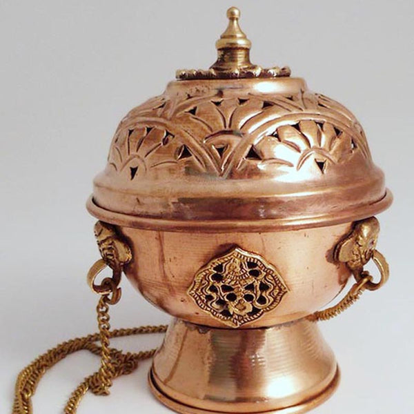 Copper Hanging Incense Burner - 3.5 inch - Imperfect