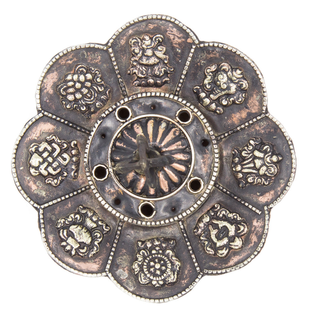 Lotus with 8 Auspicious Symbols Incense Burner