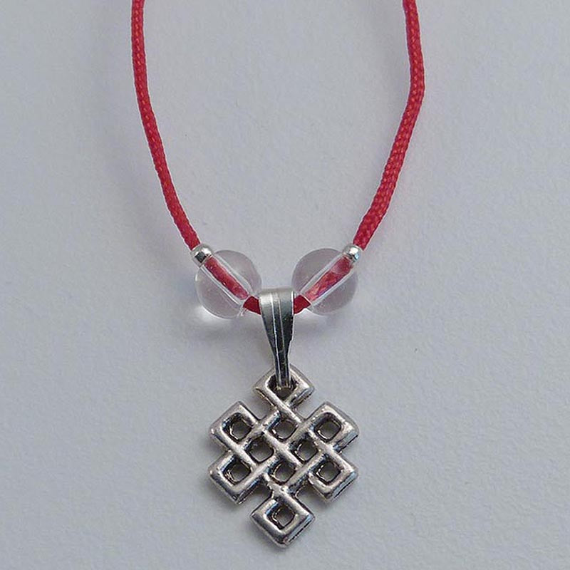 White Metal Endless Knot Pendant - Red Cord