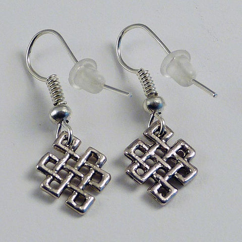 White Metal Endless Knot Earrings