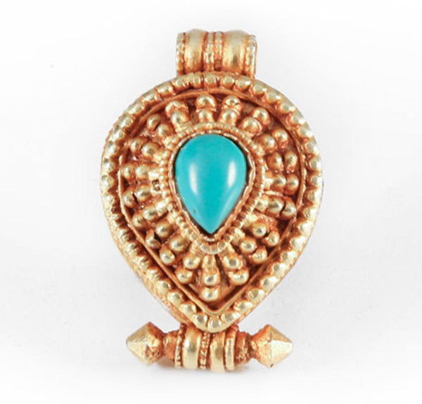 Gold-Plated Turquoise Teardrop Gau