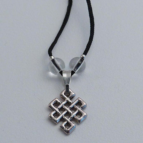 White Metal Endless Knot Pendant - Black Cord
