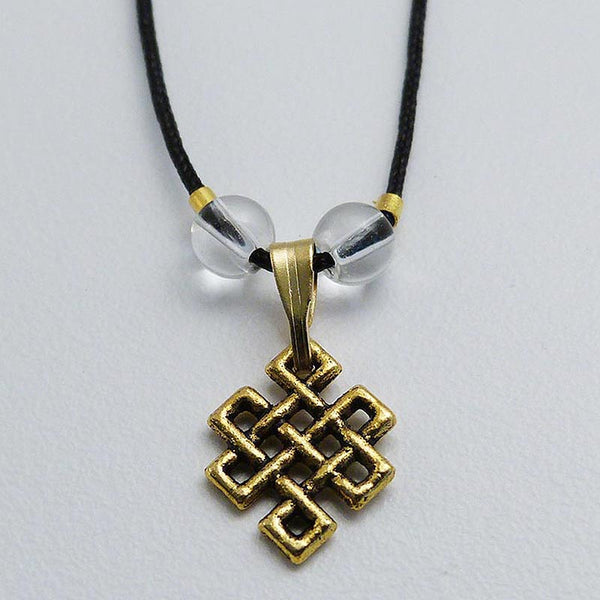 Gold Colored Endless Knot Pendant - Black Cord
