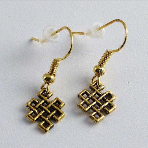 Gold Colored Endless Knot Earrings