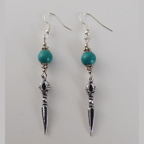 White Metal and Turquoise P'hurba Earrings