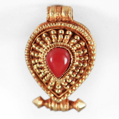 Gold-Plated Coral Teardrop Gau