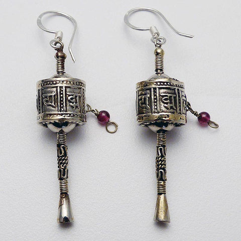 White Metal Prayer Wheel Earrings