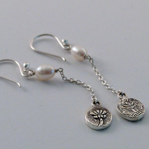 Dangling Lotus and Pearl Earrings