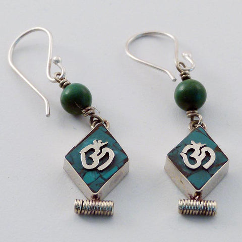 Turquoise Om Earrings
