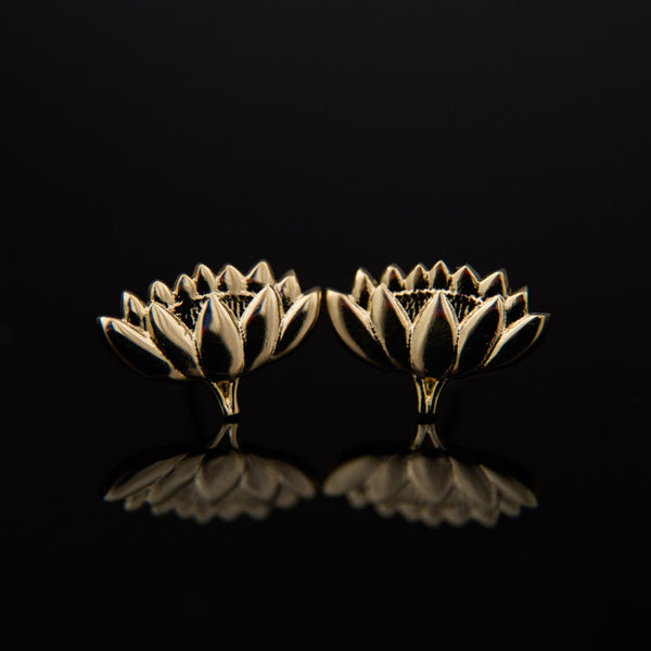 Gold-Plated Lotus Earrings
