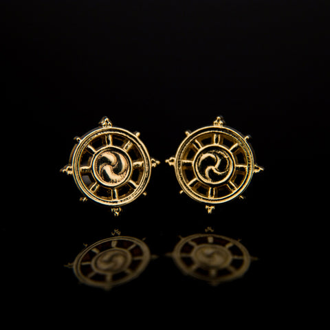 Gold-Plated Dharma Wheel Earrings