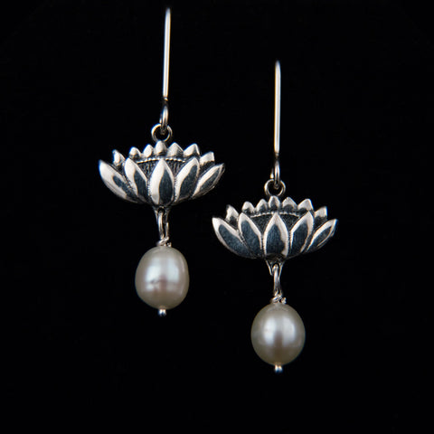 Lotus Blossom and Natural Pearl Earrings