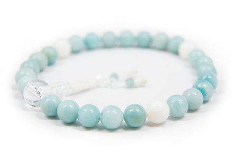 Amazonite and Mother of Pearl Pocket Mala - 8mm