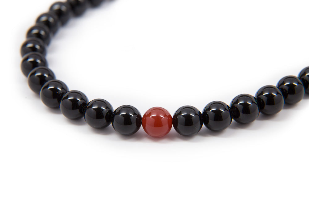 Black Onyx with Carnelian Mala - 8mm