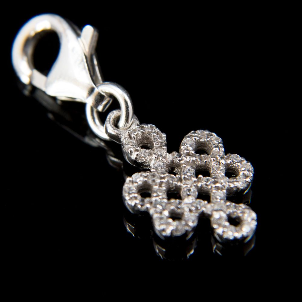 Sterling Endless Knot with CZ Bhum Counter