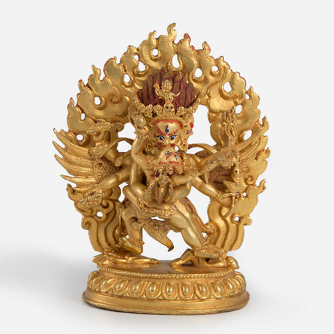 Vajrakilaya Gold Statue with Painted Face - Mini
