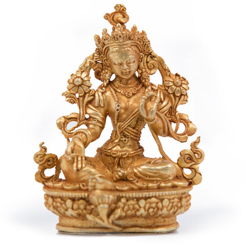 Green Tara Gold Statue - Mini