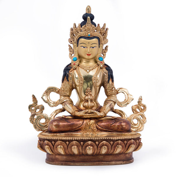 Amitayus Partially Gilded Statue - 8 inch
