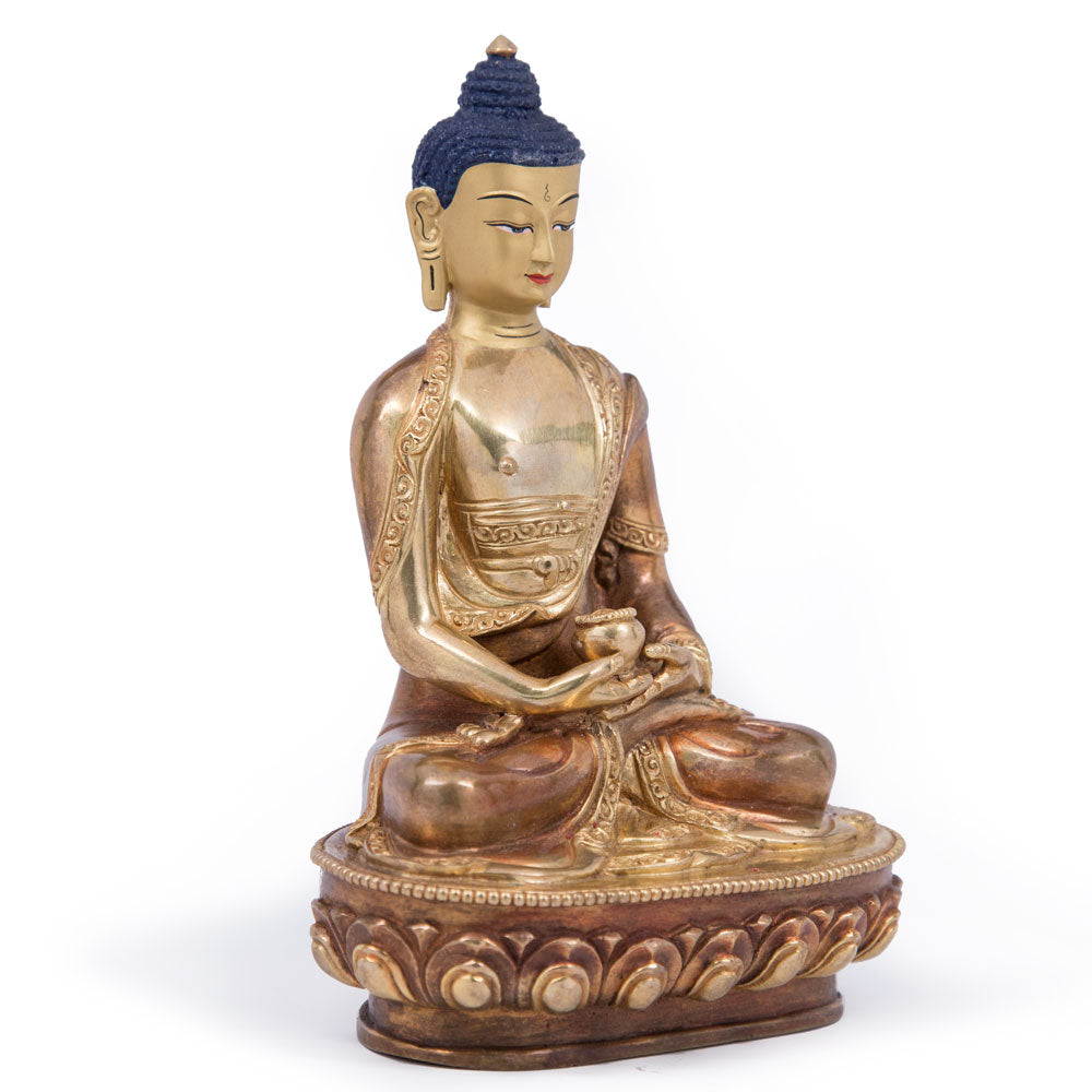 Amitabha Partially Gilded Statue - 8 inch