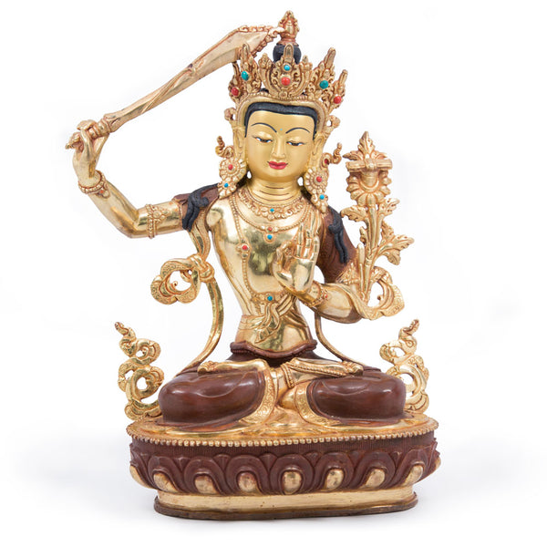 Manjushri Partially Gilded Statue - 12 inch