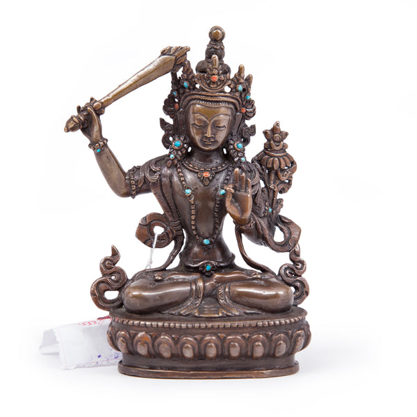 Manjushri Oxidized Copper Statue - Small