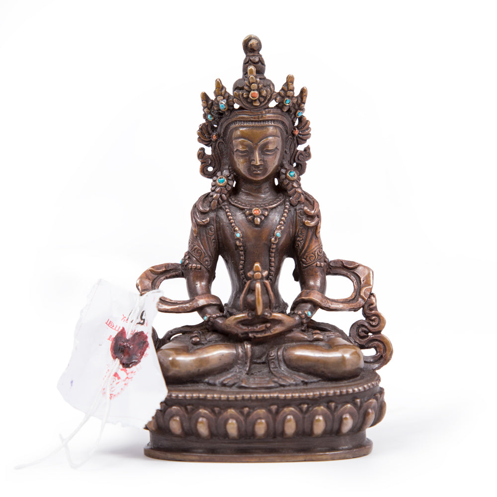 Amitayus Oxidized Copper Statue - Small
