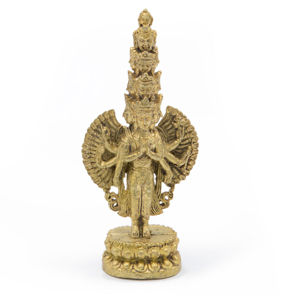 1000-armed Avalokiteshvara Gold Statue - Mini
