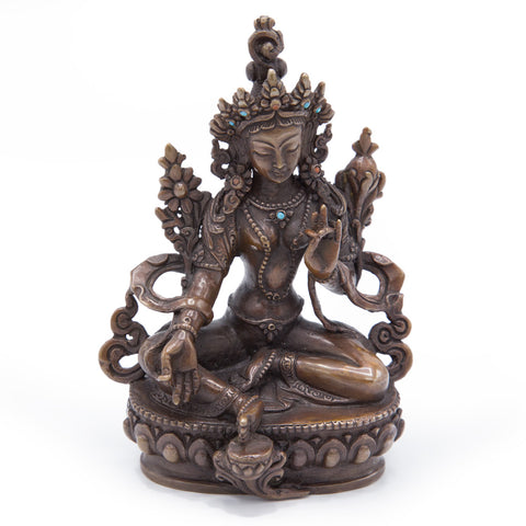 Green Tara Oxidized Copper Statue - Small