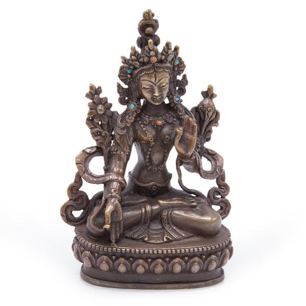 White Tara Oxidized Copper Statue - Small