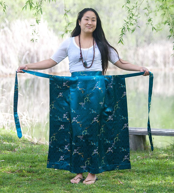 Turquoise Brocade Meditation Skirt - Clearance