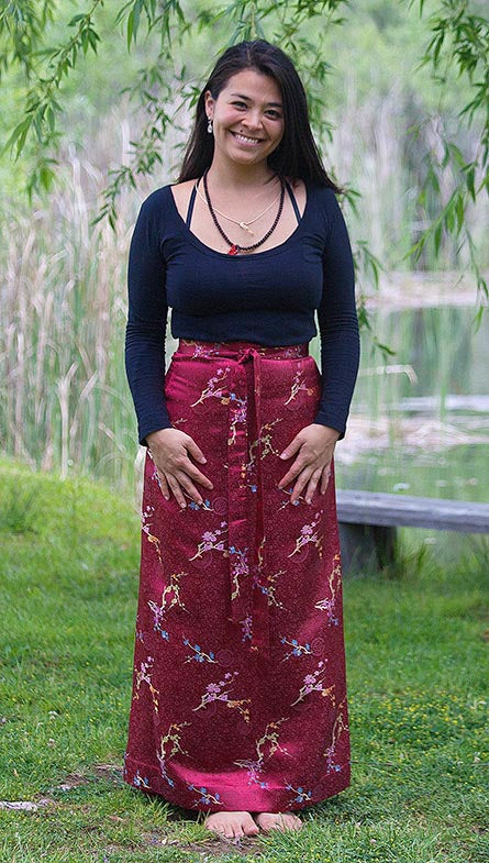 Red Brocade Meditation Skirt