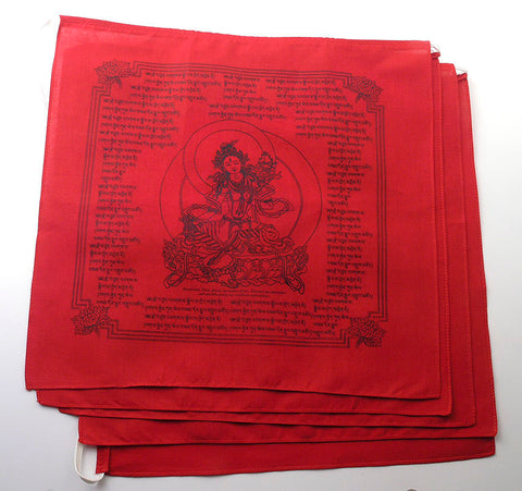 Red Tara Jetsun Prayer Flag - Set or Single