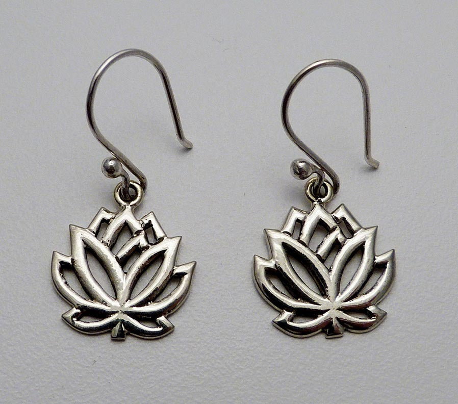 White Metal Lotus Earrings