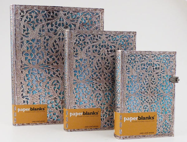 Silver Filigree Maya Blue Journal
