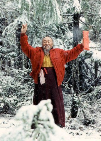Chagdud Rinpoche Hands Raised Photo
