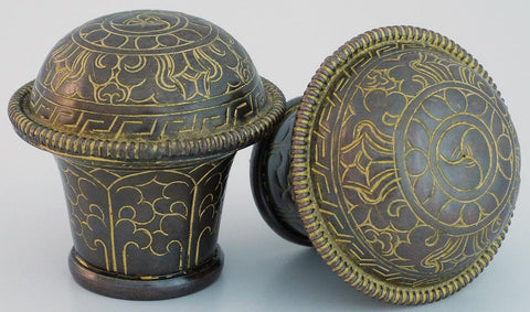 Oxidized Copper Thangka Knob Set - Large